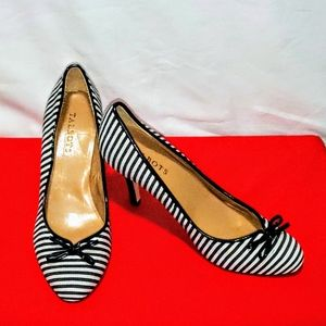 Talbots Black and White Striped Bow Tie Stilettos